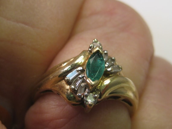 Vintage 10Kt Natural Emerald & Diamond Ring, Marquis Emerald, Diamond Baguettes, sz. 6.5, signed SUMAL