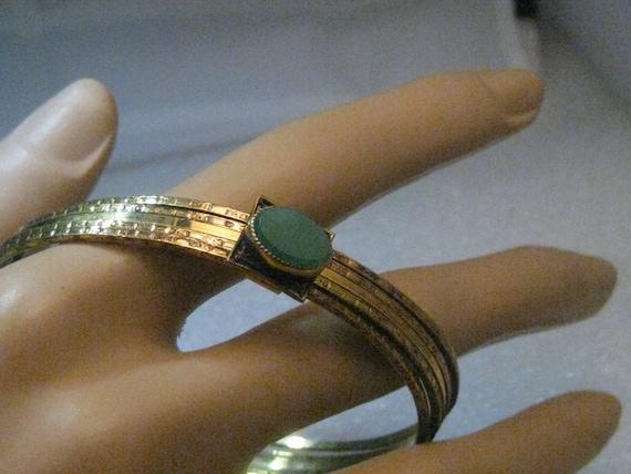 "Art Deco Stackable Bangle Bracelets, Jade-like Stone, 10kt G.F, 7.5"""