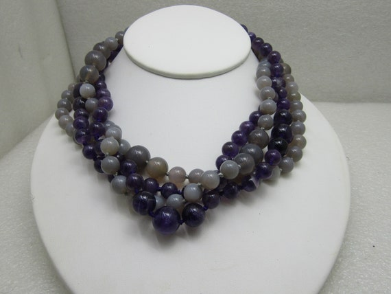 Vintage Purple & Gray Beaded Necklace, 10mm to 12mm,  Amethyst and Gray Quartz, 2 Necklaces