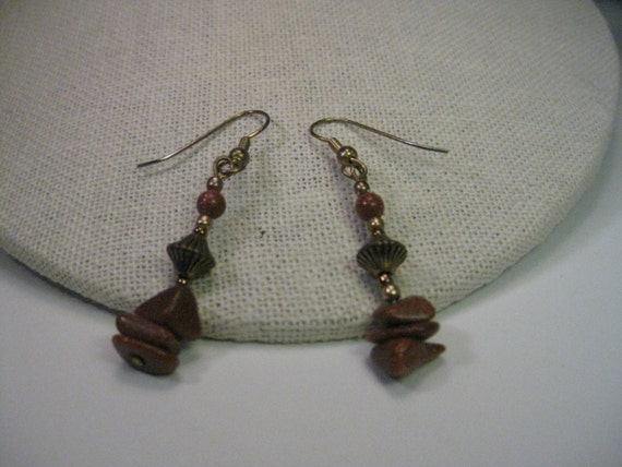 Vintage Goldstone Gold Tone Pierced Earrings, BOHO  Dangle - Goldstone Nuggets & Fluted Beaded