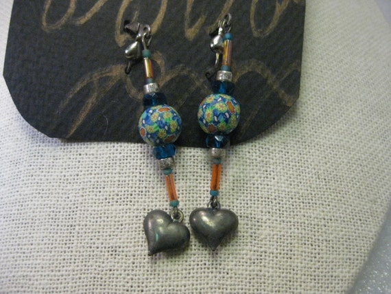 Vintage Silver Tone Heart Beaded Pierced Earrings - Boho - Double Hearts, Mosaic Floral Bead, 1990's