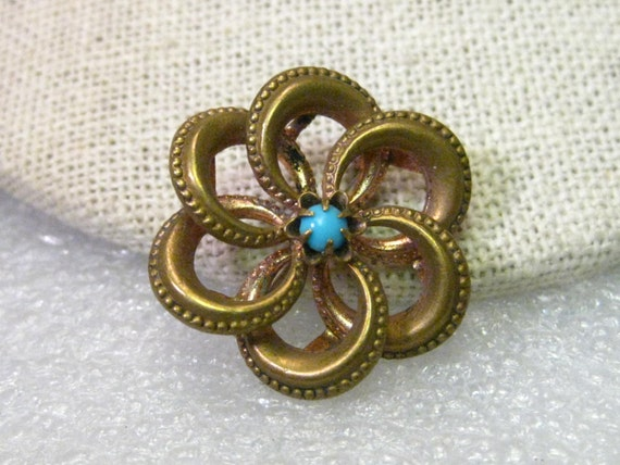 True Victorian to Art Nouveau Spiral Brooch with Turquoise Stone, Gold Filled, 1""