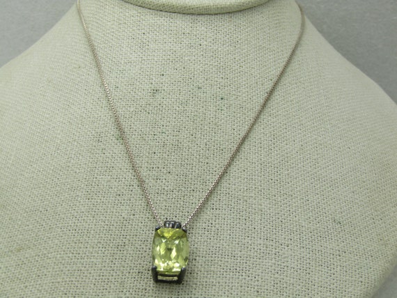 "Vintage Sterling Silver Citrine Necklace, 5.5 TCW, 18"" , 1mm Box Chain."