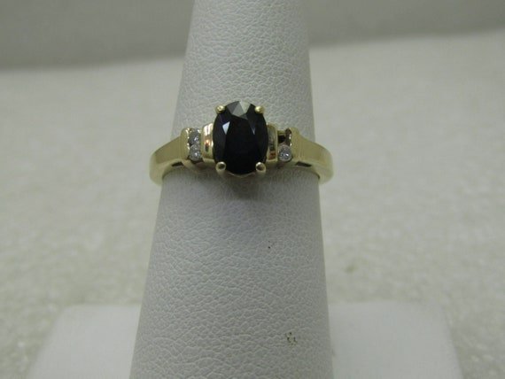 Vintage 14kt Black Spinel & Diamond Ring, Size 7, 3.98 gr.