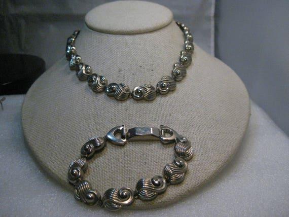 """Vintage Jaycraft Necklace & Bracelet Set 14.5""""/7"""", 1940's, Silver Tone"""