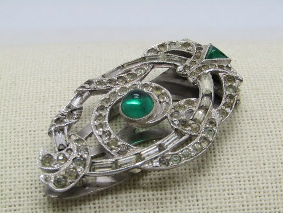 """Vintage Art Deco Rhinestone Dress Clip, Green Cabochons, Scrolled, 2"""" tall, Baguettes"""