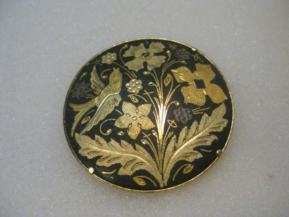 "Vintage Damascene Round  Brooch, Floral and Bird, 1.5"" Round , Trombone Clasp, Black and Gold"