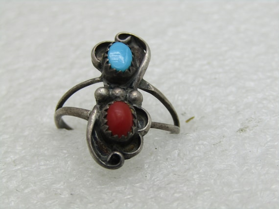 Vintage Sterling Southwestern Turquoise Coral Ring, Sz. Sz. 7.75, 2+ grams, 1960's-1970's, Signed