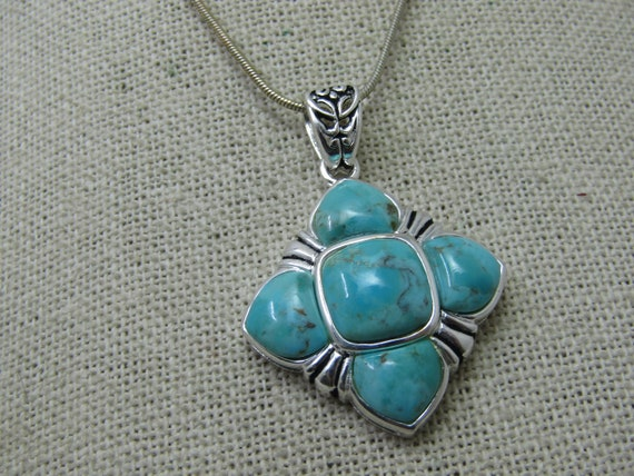 "Southwestern Faux Turquoise Necklace, Silver Tone, 24"" Snake Chain"