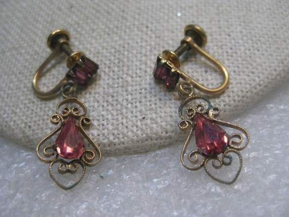 Vintage Bal-Ron Pink Rhinestone Earrings, Stud and Dangle, Screw-Back, 12kt G.F.