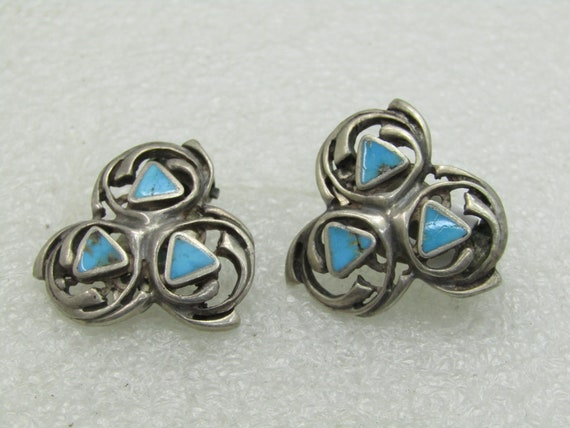 Vintage Southwestern Native American Sterling Silver Turquoise Clip Earrings, 1950's