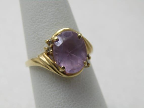 Vintage 14kt Amethyst Diamond Ring, Carved Back, Sz. 6, 3.17 Gr.