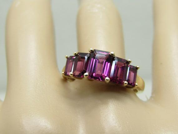 Vintage 14Kt Rectangular Tourmaline Ring, Sz. 9.25, 2 TCW, 5 Stones