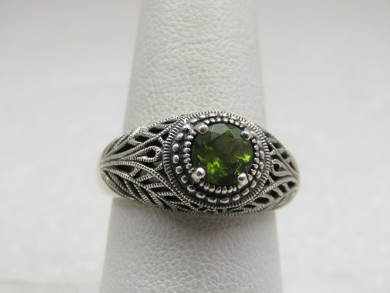 Sterling Peridot Art Deco Themed Ring, Sz. 8.25, Signed CNA