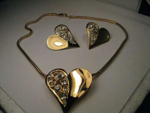 Vintage Gold Tone Heart Necklace, Pendant & Brooch Combination with Pierced Earrings with Rhinestone Accents