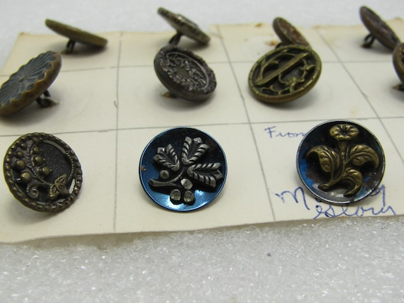 Victorian Brass Floral Buttons, 12, Perfume & Mixed, Morning Glory, Greek Key, Scrolled
