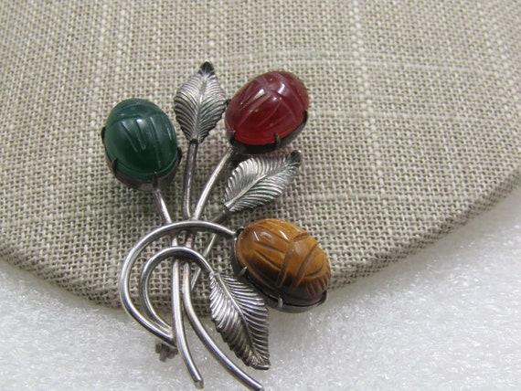 Vintage Sterling Scarab Floral Stem Brooch, Signed WRE