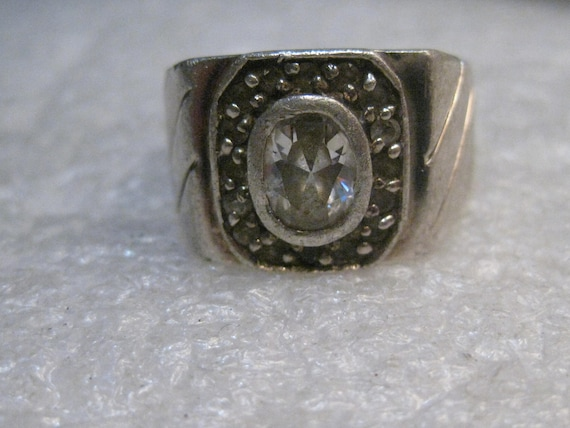 Vintage Sterling Men's Rhinestone Ring, 1960's, Heavy, size 8, 16.82 gr, Halo
