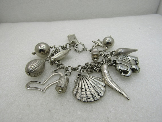 "Vintage Mixed Genre Charm Bracelet, 7.5"", Chunky, Toggle Clasp"