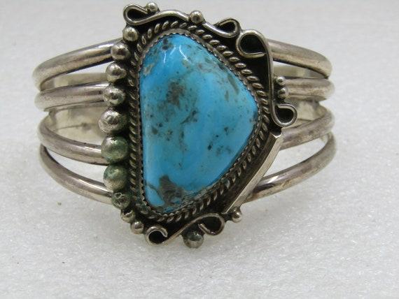 Vintage Sterling Navajo Turquoise Cuff Bracelet, L.N. Leander Nezzie