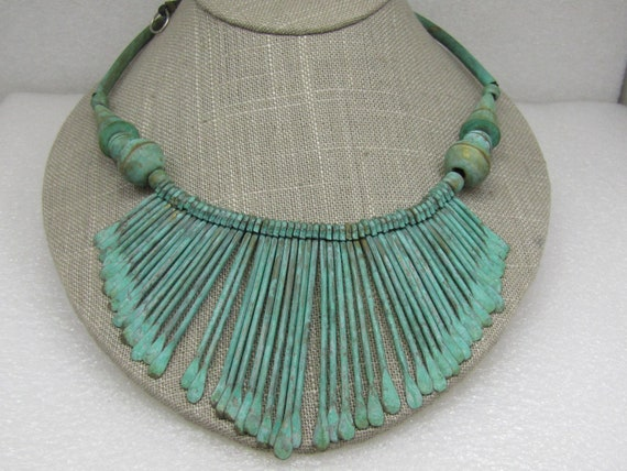 "Vintage Turquoise Washed Brass Tribal Bib Necklace, 25"""
