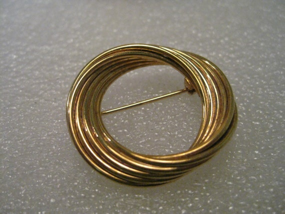 Vintage Brooch, Napier signed Gold tone Circle Brooch, Intertwined Effect, 1.25""