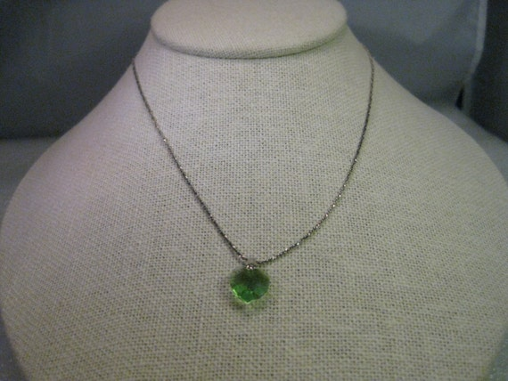 Vintage Necklace, Sterling Silver Chain & Green Crystal Heart Pendant, 16""