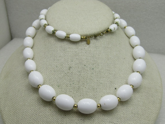 "Vintage Monet White Beaded Necklace, 26"", 1970's-1980's"