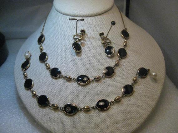 1960's  Black Necklace Set with  Bracelet, Screw Back Earrings, 1/20 12kt Gold Filled, Bezel-Set, Vintage