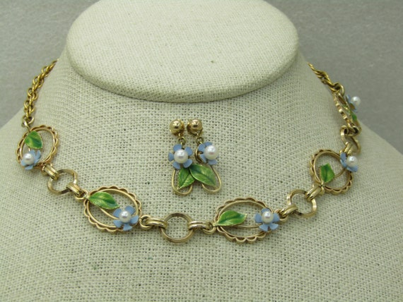 Vintage 12kt GF Forget Me Not Enameled Necklace & Earrings, A and Z, 1940's-1960's