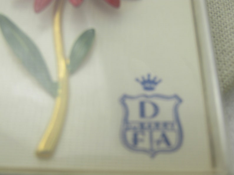 In Original Box Daisey 2.75 Vintage Dubarry Red Enameled Floral Brooch 1960/'s