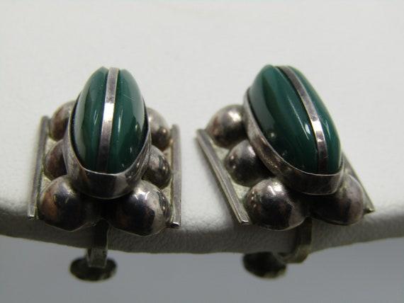 Vintage Sterling Silver Chrysoprase Earrings, Mexico, Screw Back, 1950's-1960's, 6.49gr.