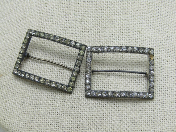 "Vintage Sterling Art Deco Rhinestone Brooch Set, 8.10 gr., 1.25"" by 7/8"", 3mm, C-Clasp, Signed RR, Ralfe Rings"