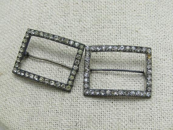 "Vintage Sterling Art Deco Rhinestone Brooch Set, 8.10 gr., 1.25"" by 7/8"", 3mm, C-Clasp, Signed RR, Ralfe Rings"