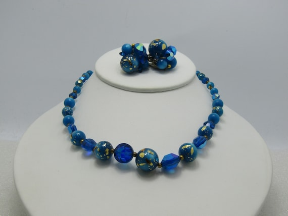 Vintage Aqua Foiled Moonglow Beaded Necklace & Clip Earrings with Aurora Borealis Stones, 16""