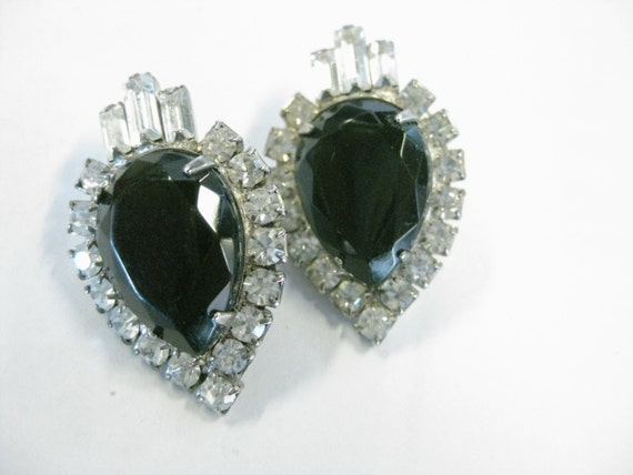 Vintage 1980's Art Deco Themed Bold Rhinestone, Black & Clear, Pierced Earrings