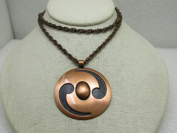 "Vintage Bell Copper Abstract Necklace, 24"", 4.4mm with 2.25"" Round Pendant"