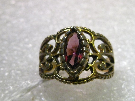 Vintage 14kt G.E.P Filigree Wide Band Ring with Marquis Amethyst Colored Stone, sz. 5, signed ESPO