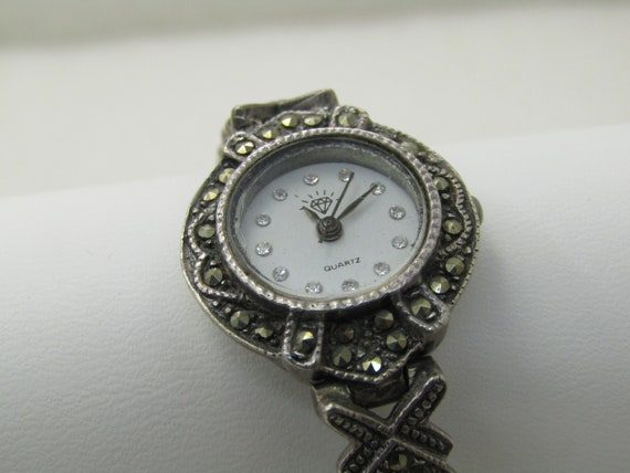 Vintage Sterling Silver Marcasite Wristwatch, Ladies, 6.75""