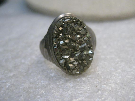 Vintage Pyrite/Druzy Stainless Steel Ring, Size 7.5, 1970's