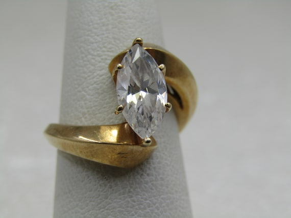 Vintage 10kt Bypass 2 CTW Marquise CZ Engagement Ring, Sz. 6