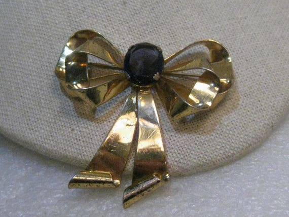 "Vintage Sterling Amethyst Bow Brooch,  1940's, Stone, Gold-Washed, 2.25"", 18.62gr."