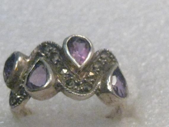 Vintage Sterling Amethyst Marcasite Ring, Size 7, 4.43 gr., 1980's