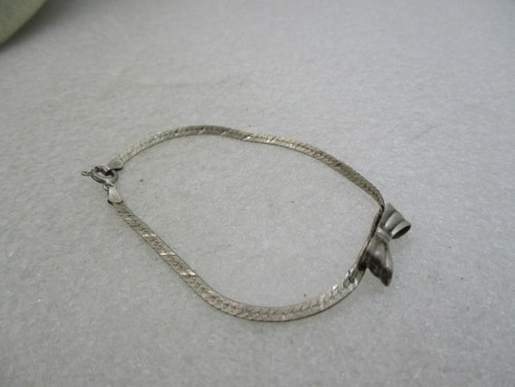 """Vintage Sterling Herringbone Bow Bracelet, 7"""", 2.70 gr."""