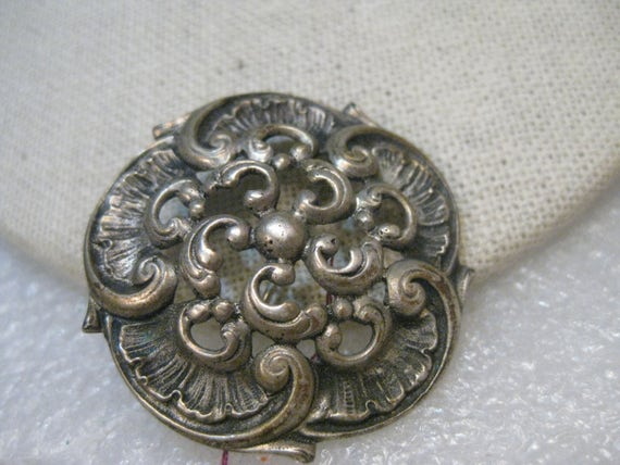 "Silver Disc Brooch, signed A .835, 1.5"" and 12.51 grams, believe European and early 1900's"