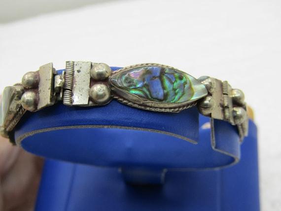 "Vintage Mexico Alpaca Abalone Bracelet, 6.75"", 1960's"