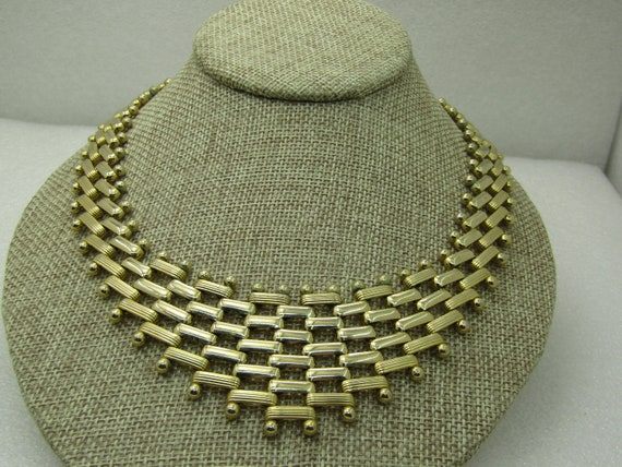 "Vintage Woven V Drop Bib Necklace, 19"" with 1.5 Drop"