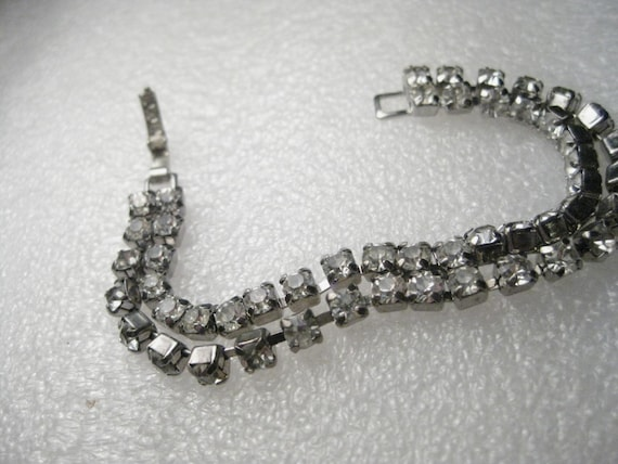 "Vintage  Silver Tone Double Strand Rhinestone Bracelet,  6.25"" - flip-over clasp, Art Deco themed"
