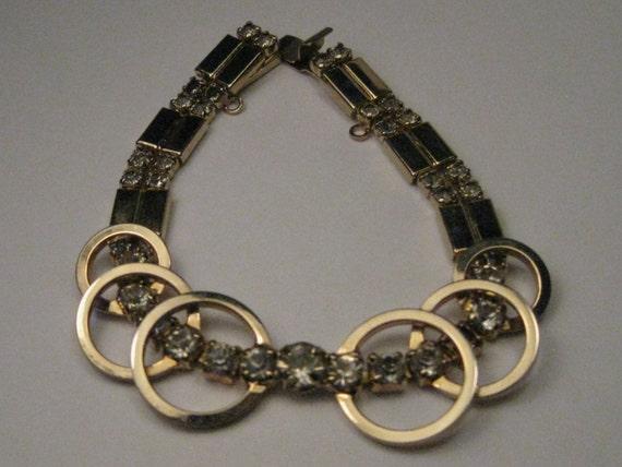 "Vintage Gold Tone Sarah Coventry Rhinestone 1950-1960 Modern Style Bracelet, signed SAC, 7"", Slide-in-Box Clasp"
