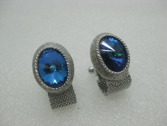 Vintage Silver Tone Cuff Links, Blue Rivoli Stones, Mesh, 1960's-1980's